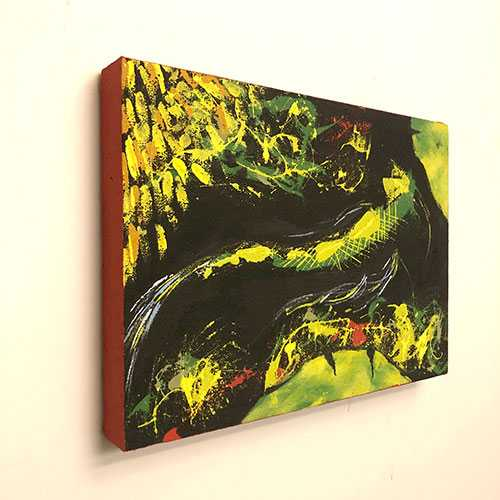 Chartreuse koi framed in red 2 2